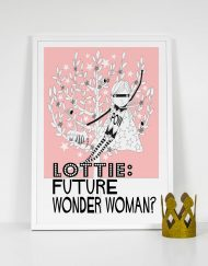 wonder woman bright pink girls personalised print