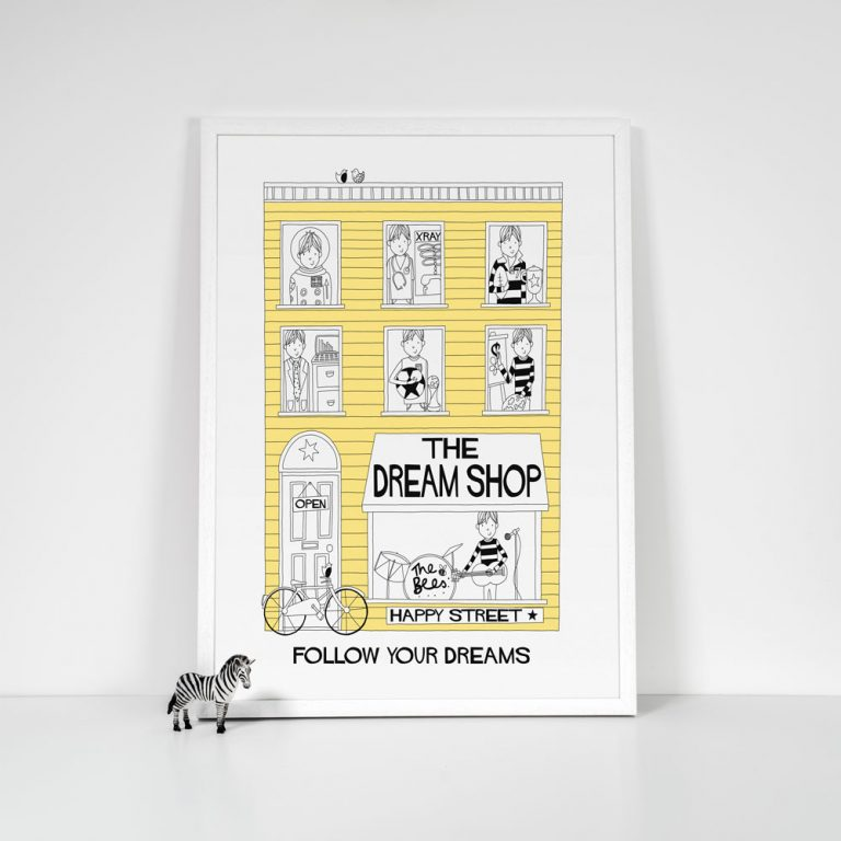 boys dream shop yellow print