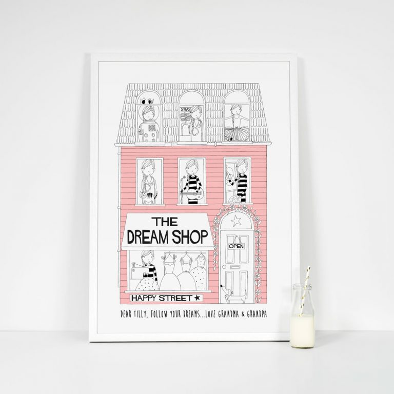 Bright pink dream shop girls personalised print