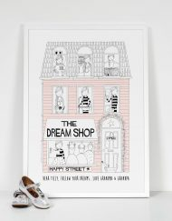 light pink girls personalised dream shop print