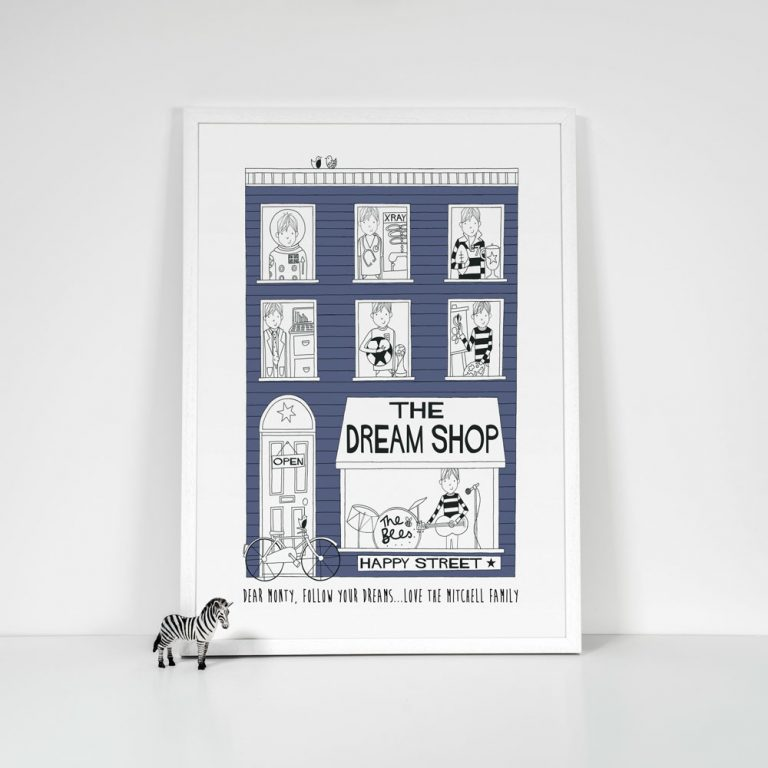 navy blue boys personalised dreamshop print