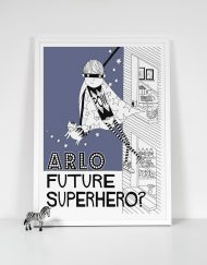 navy blue boys superhero print