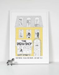 yellow girls personalised dream shop print
