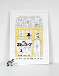 yellow girls personalised dream shop print