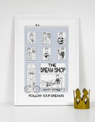 boys dream shop print in light blue