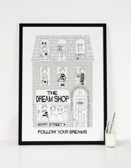 grey irls dream shop art print