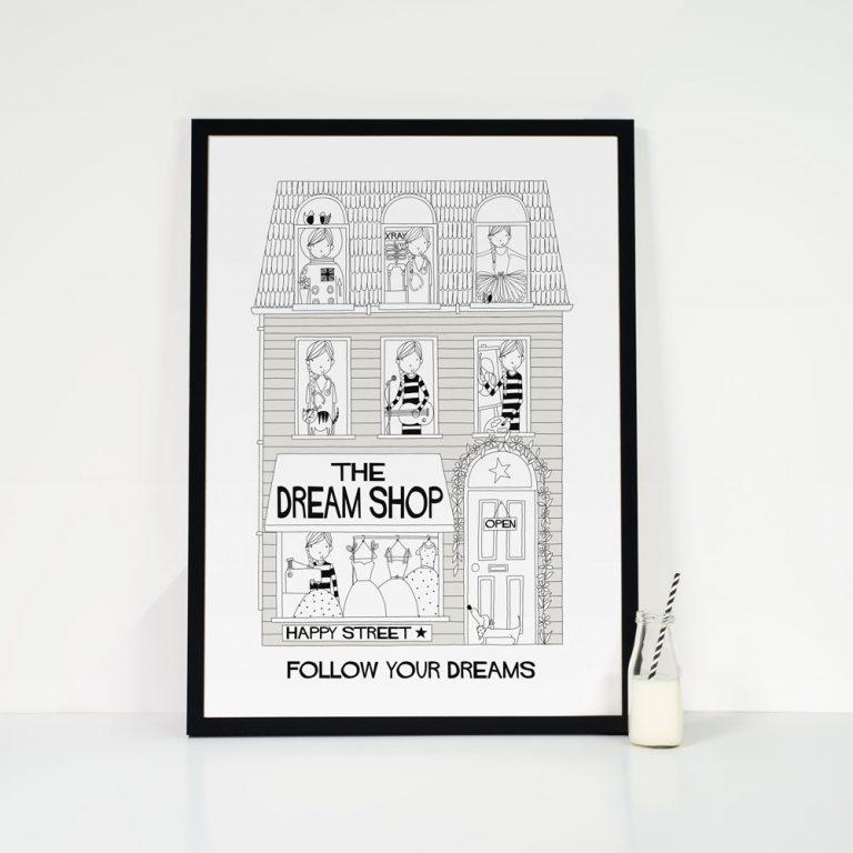 grey irls dream shop art print