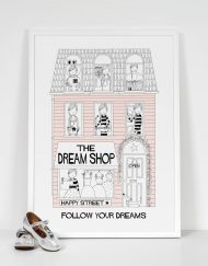 light pink girls dream shop art print