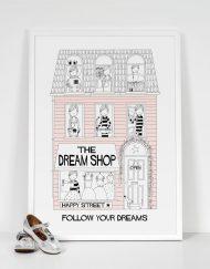 light pink girls dream shop art print