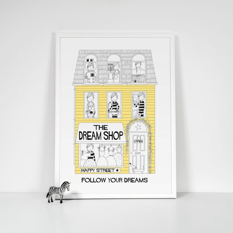 yellow girls dream shop art print